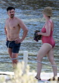 Katy Perry seen wearing a red swimsuit while on vacation with Orlando Bloom in Bodrum, Turkey
