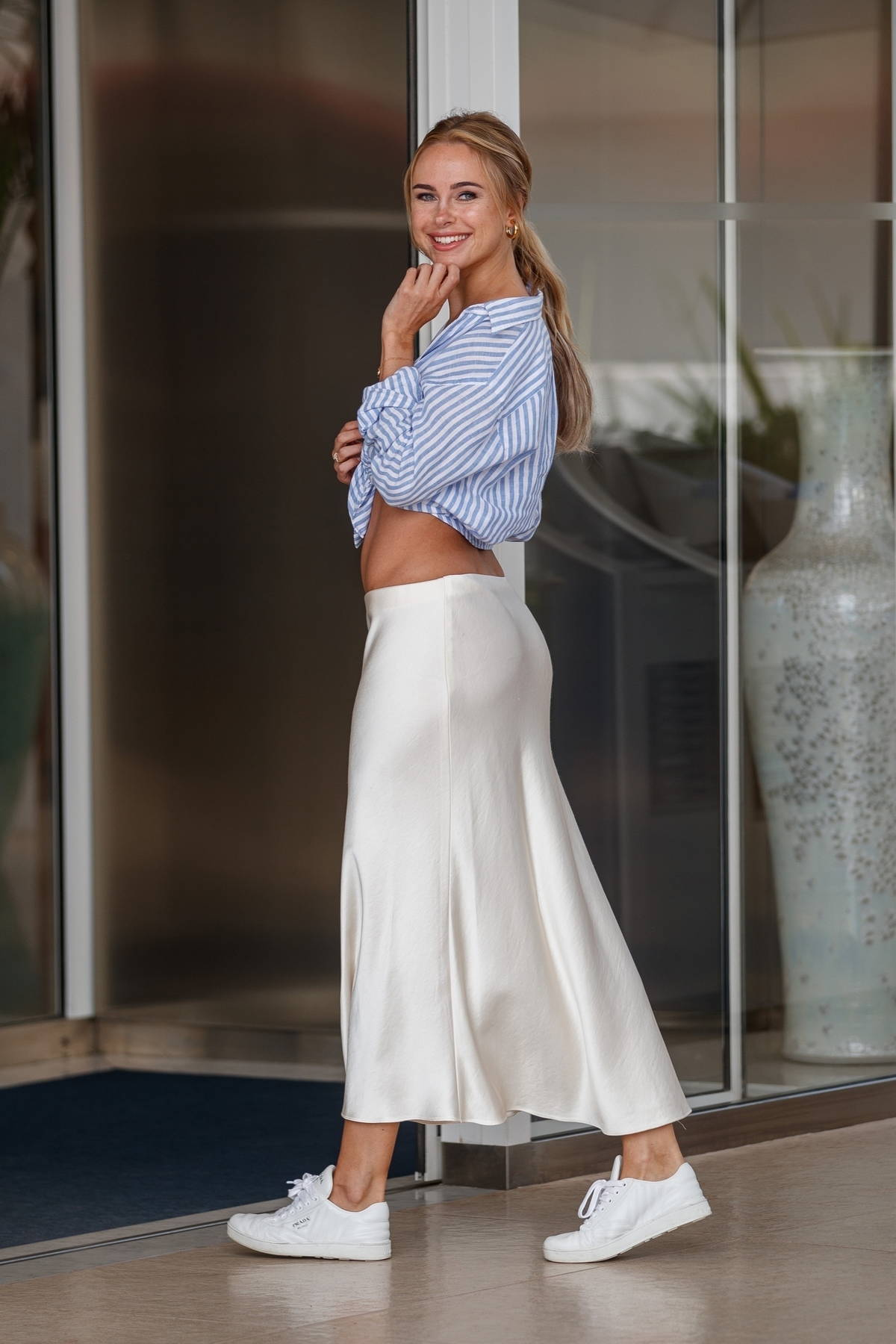 Kimberley Garner flaunts her perfectly toned abs at the Martinez Hotel during the 74th Cannes Film Festival in Cannes, France