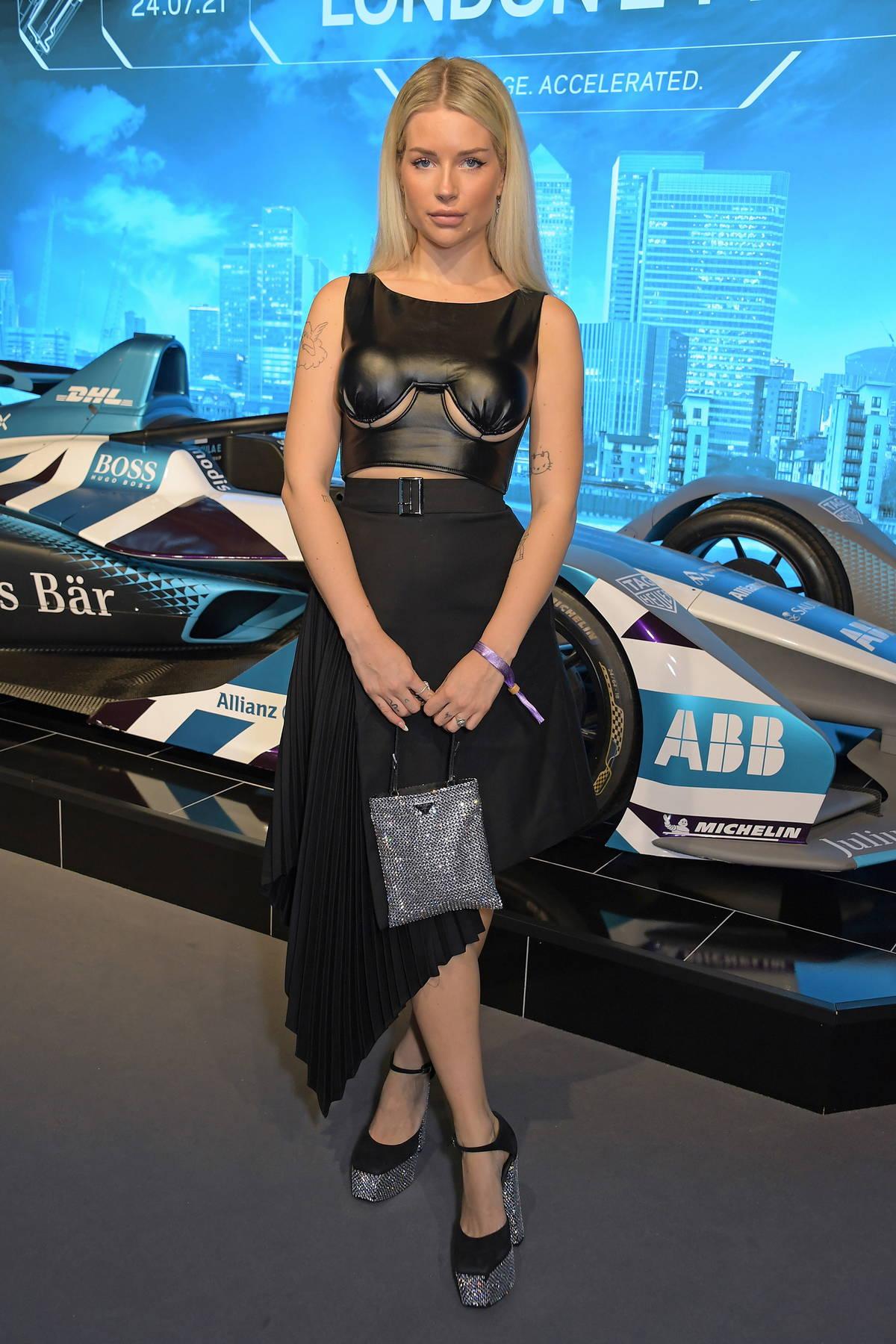 Lottie Moss attends the ABB FIA Formula E Heineken London E-Prix, Day 2 at ExCel in London, UK