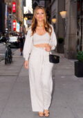 Maria Menounos looks fab in all-white as she steps out for dinner at Hunt & Fish Club in New York City