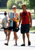 Nina Agdal seen heading to a yoga class with boyfriend Jack Brinkley-Cook in The Hamptons, New York