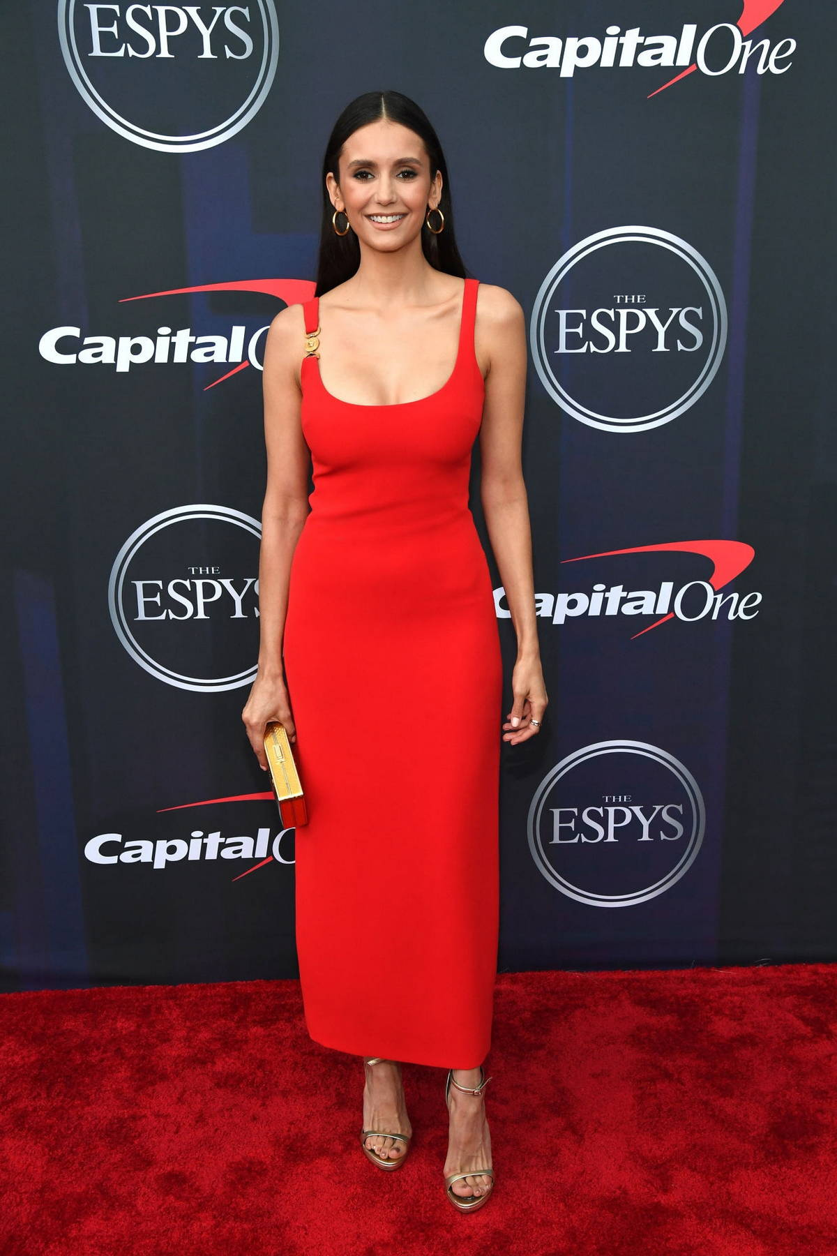 Nina Dobrev attends the 2021 ESPY Awards at Rooftop At Pier 17 in New York City