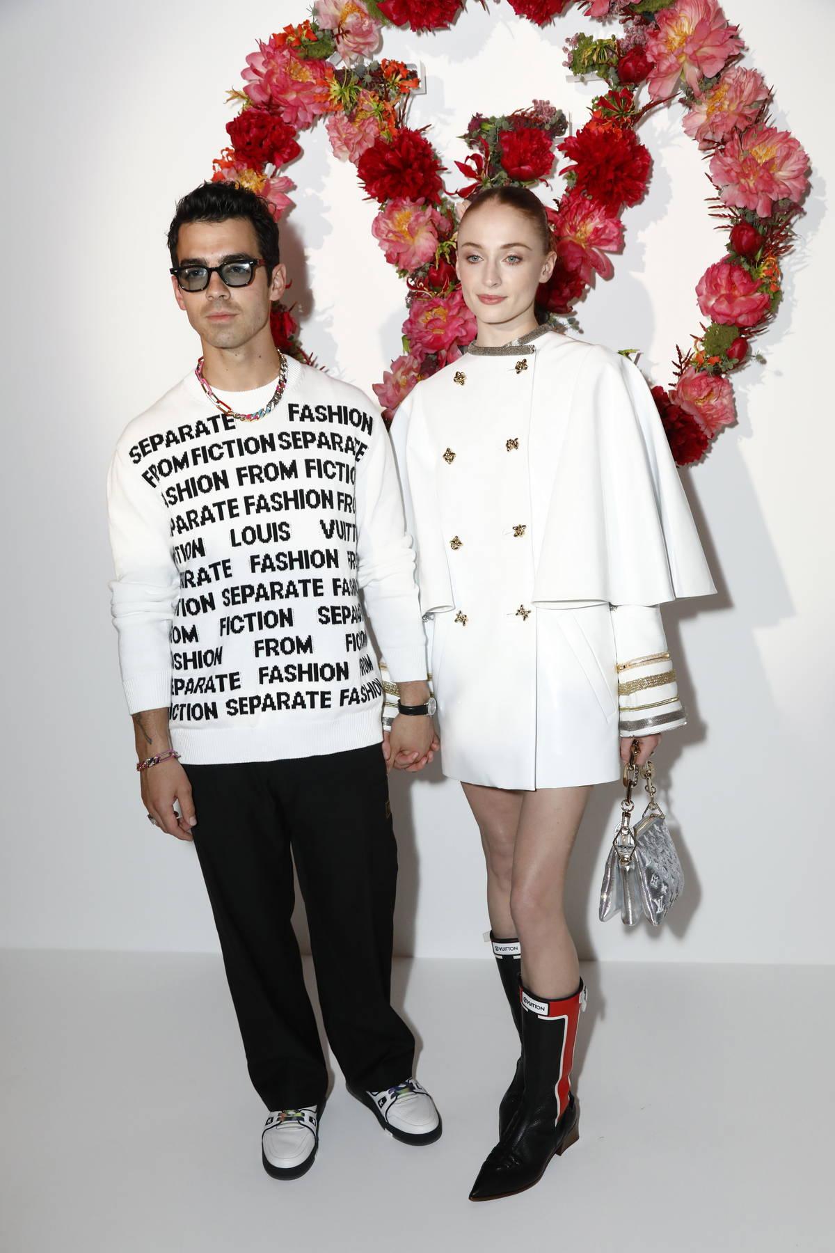 Sophie Turner and Joe Jonas attend the Louis Vuitton Fragrance Dinner at the Louis Vuitton Foundation in Paris, France