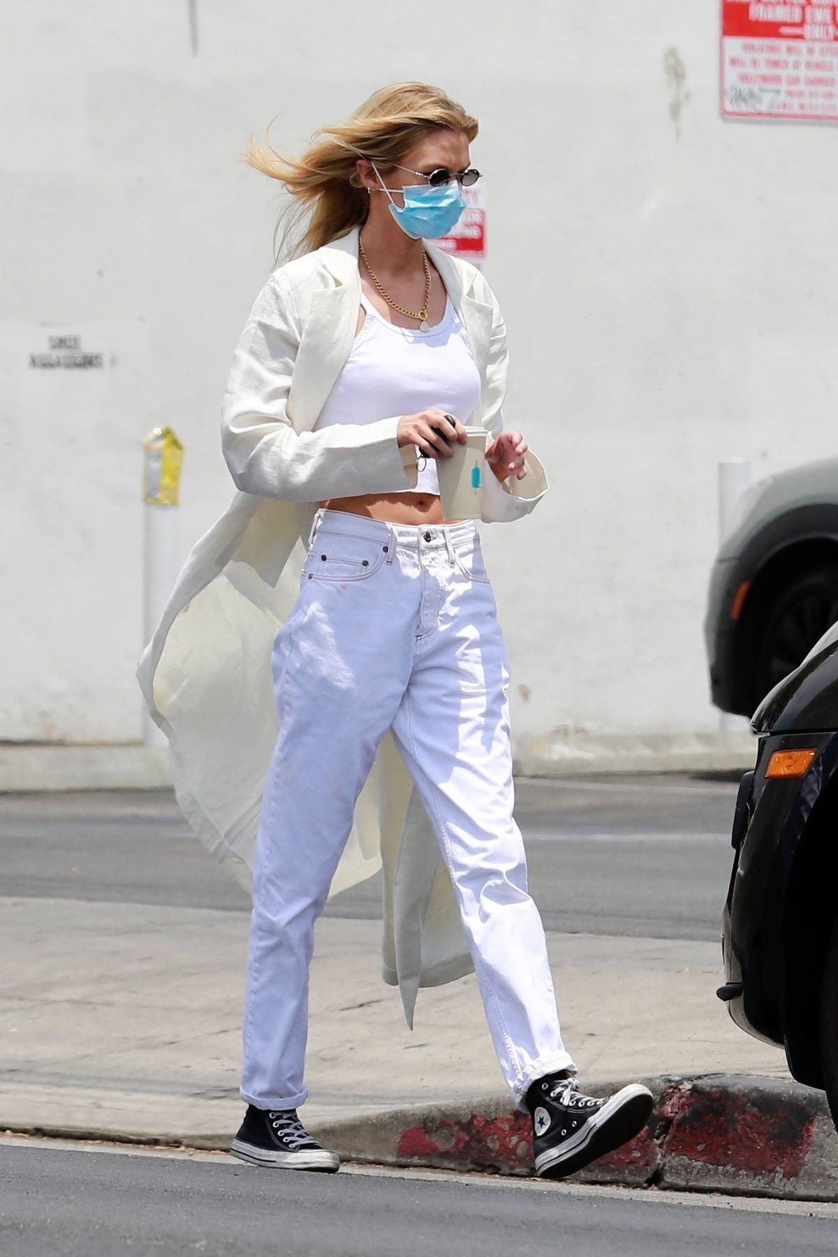 Stella Maxwell dons all-white as she goes out for coffee before shopping in Los Angeles