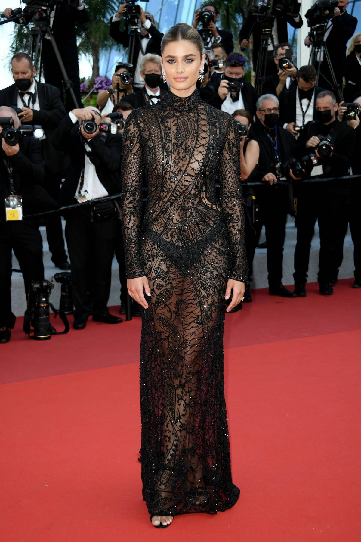 Taylor Hill attends the screening of 'De Son Vivant' during the 74th annual Cannes Film Festival in Cannes, France