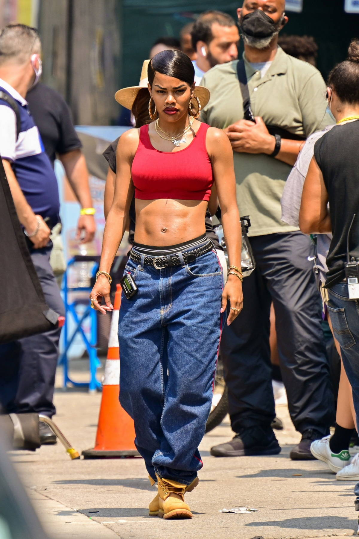 Teyana Taylor shows off her ripped abs on the set of 'A Thousand and One' in Harlem in New York City