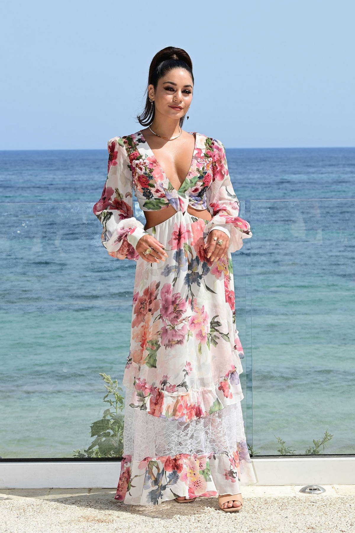 Vanessa Hudgens looks stunning in a floral dress while attending Filming Italy Festival, Day 3 photocall in Santa Margherita di Pula, Italy