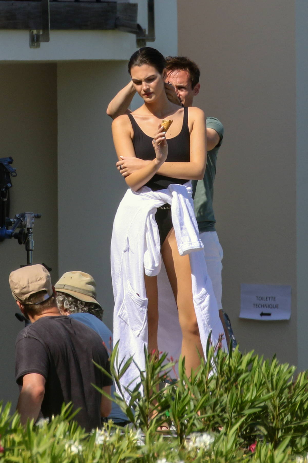Vittoria Ceretti looks amazing in a black swimsuit during a photoshoot in Saint-Tropez, France