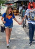 Addison Rae is all smiles as leaves lunch holding hands with new her boyfriend Omar Fedi in West Hollywood, California