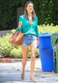 Alessandra Ambrosio displays her mile-long legs during a lunch outing with friends at SoHo House in Malibu, California