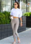 Alessandra Ambrosio keeps it sporty in beige workout top and leggings for her daily Pilates class in Brentwood, California