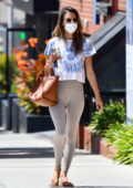 Alessandra Ambrosio looks fit as ever in beige leggings and tie-dye tee while attending a Pilates class in Los Angeles