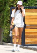 Alessandra Ambrosio showcases her super-model legs as she wraps up her workout before grabbing a froyo in Los Angeles