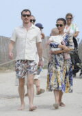Alicia Vikander and Michael Fassbender step out for a walk with their baby and some friends in Ibiza, Spain