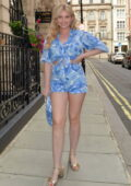 Amy Hart puts on a leggy display while out for dinner with friends at Quaglino's restaurant in Mayfair, London, UK
