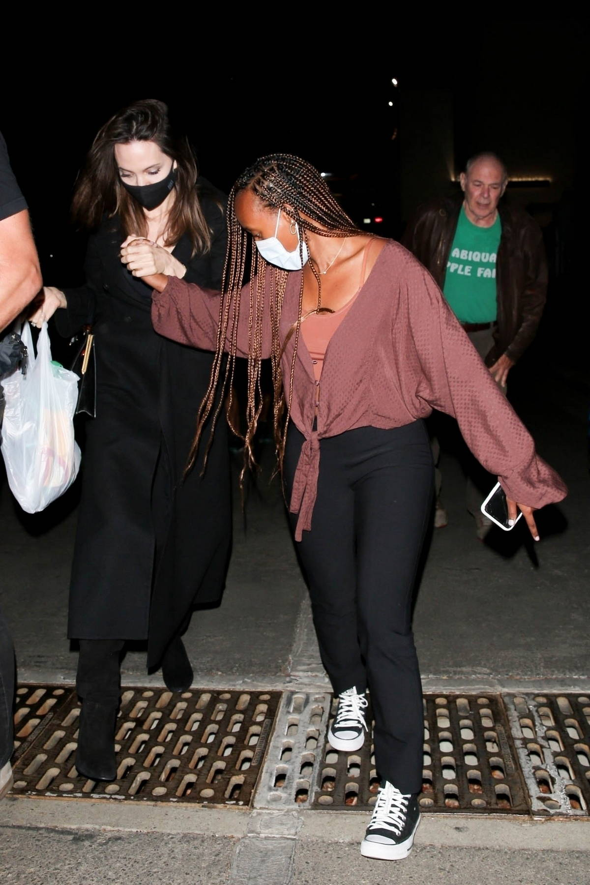 Angelina Jolie and her daughter Zahara seen leaving a Ziggy Marley concert at the Hollywood Bowl in Hollywood, California