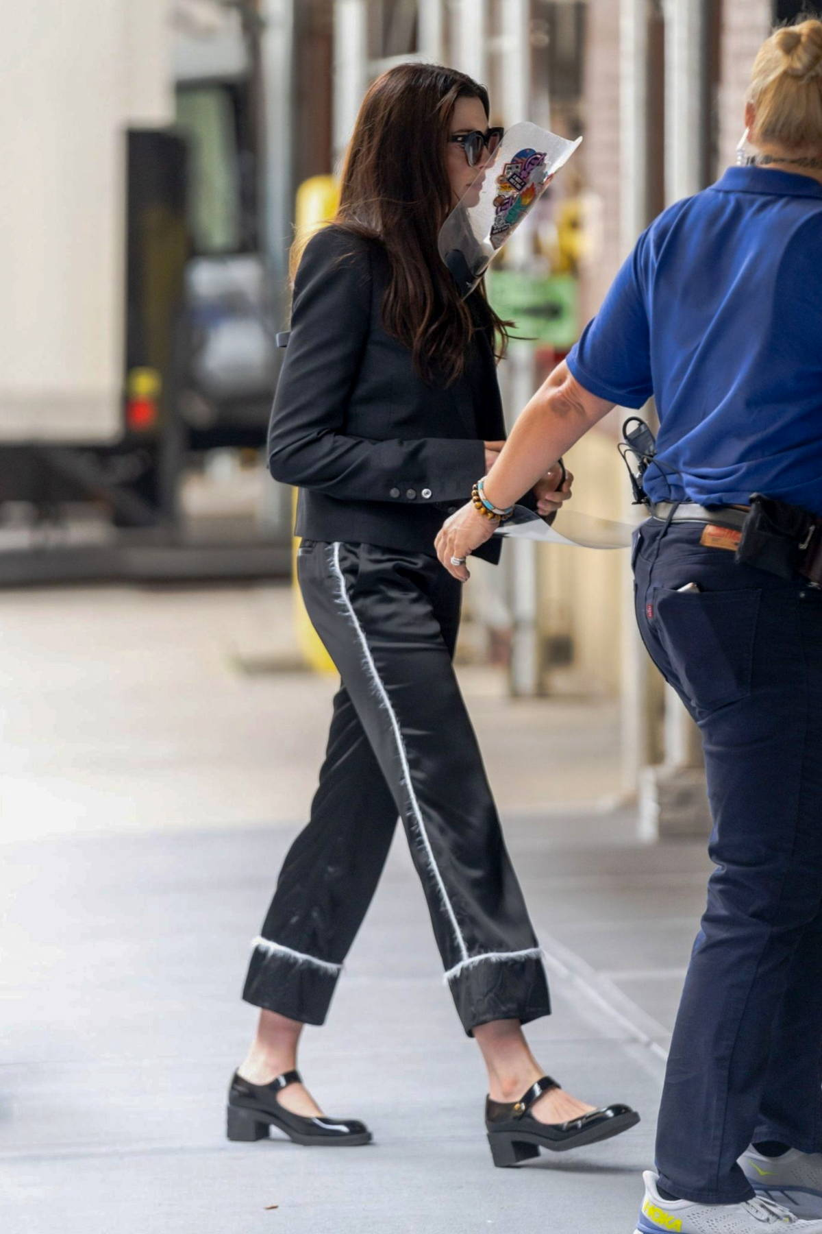 Anne Hathaway spotted in all-black while on the set of 'WeCrashed' in Midtown, New York City