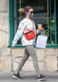 Ashley Tisdale stops for a snack and iced coffee drink at Maru Coffee in Los Angeles