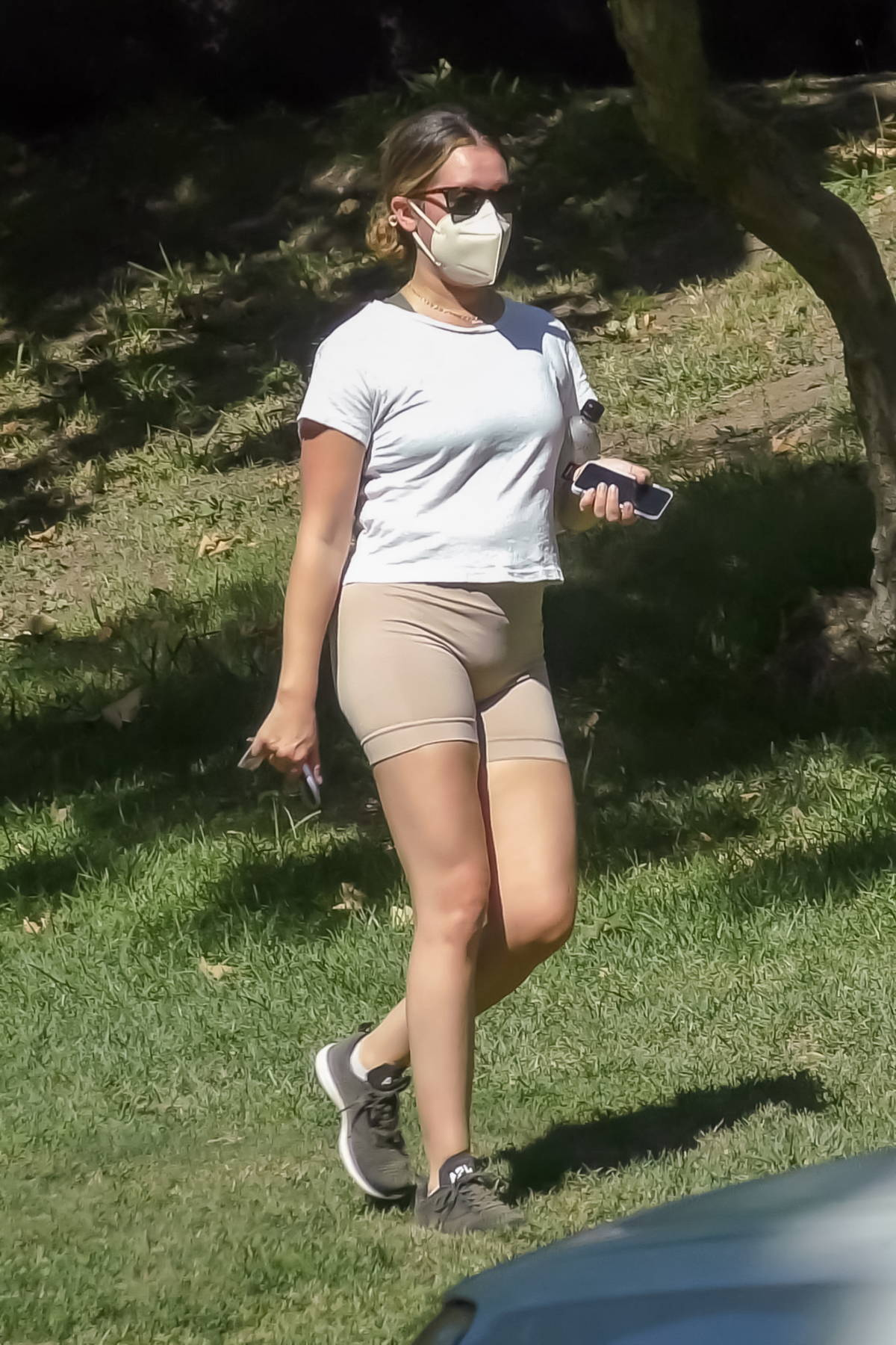 Ashley Tisdale wears a white tee and short shorts while out for an afternoon hike at Griffith Park in Los Feliz, California