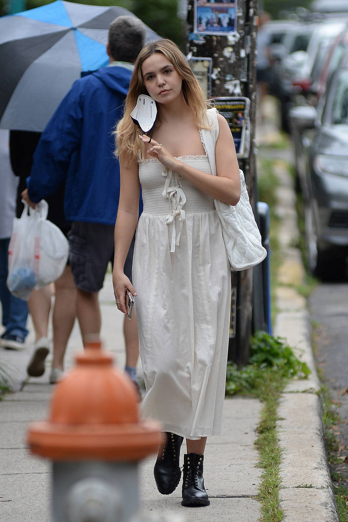 Bailee Madison steps out for some shopping wearing an off-white dress in Upstate New York