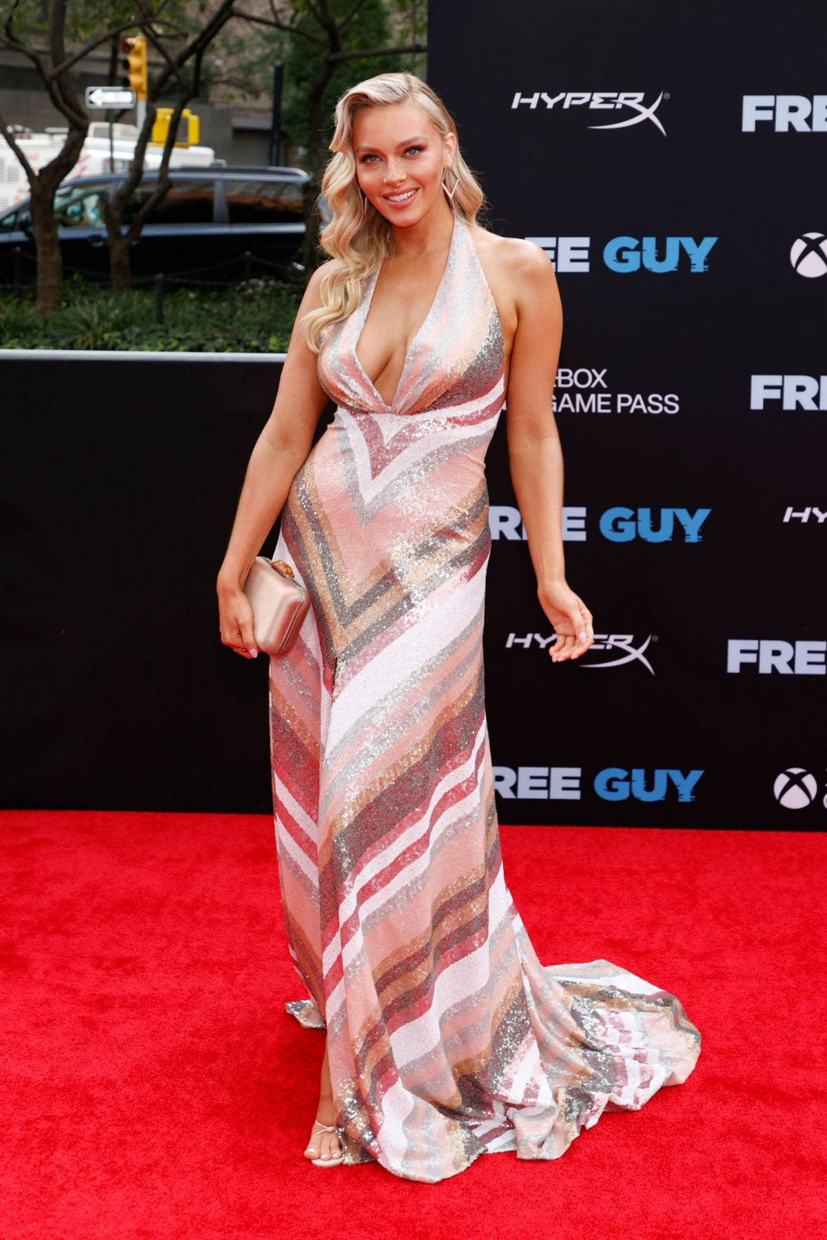 Camille Kostek attends the Premiere of 'Free Guy' at AMC Lincoln Square Theater in New York City