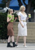 Dove Cameron and Whitney Cummings spotted on the set of a Machine Gun Kelly video shoot in Los Angeles