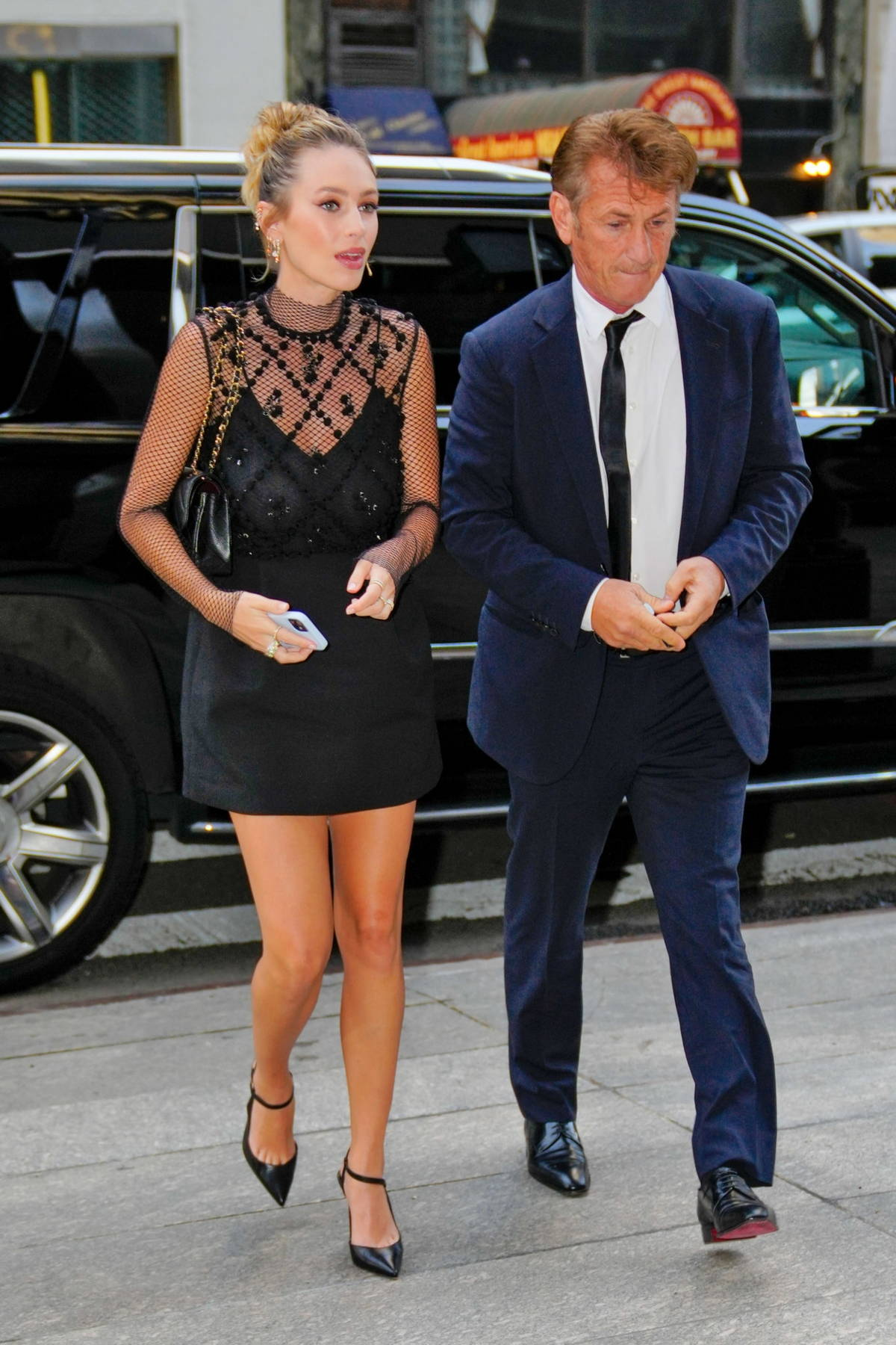 Dylan Penn and Sean Penn visit the Late Show with Stephen Colbert in New York City