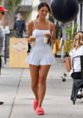 Eiza Gonzalez flaunts her legs in white tennis skirt and a tank top while making a coffee run in West Hollywood, California