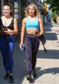 Emma Slater flashes her toned abs in a blue sports bra and leggings while stepping out for lunch in Los Angeles