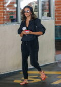 Eva Longoria opts for an all-black outfit while visiting a nail salon before grabbing a coffee in Beverly Hills, California