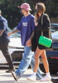Hailey Bieber and Justin Bieber hold hands as they step out for dinner in Malibu, California