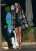 Hailey Bieber puts on a leggy display as she leaves dinner at Nobu in Malibu, California