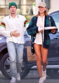 Hailey Bieber shows off her slender legs while out for dinner with Justin Bieber at 'Tre Lune' in Montecito, California