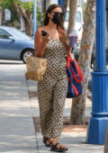 Irina Shayk looks gorgeous in Burberry dress while picking up a juice at Body Energy in Santa Monica, California