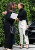 Jennifer Lopez and Ben Affleck share a kiss goodbye after spending the whole day together at his home in Brentwood, California