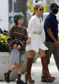 Jennifer Lopez looks stylish in a short white dress as she steps out for lunch with her daughter in West Hollywood, California