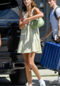 Kaia Gerber looks cute in a green mini dress with matching bag as she steps out in Los Angeles