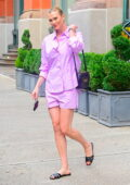 Karlie Kloss looks radiant in pink as she steps out in SoHo, New York City