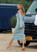Karlie Kloss stuns in a light blue dress while attending Drink 818 launch party in The Hamptons, New York