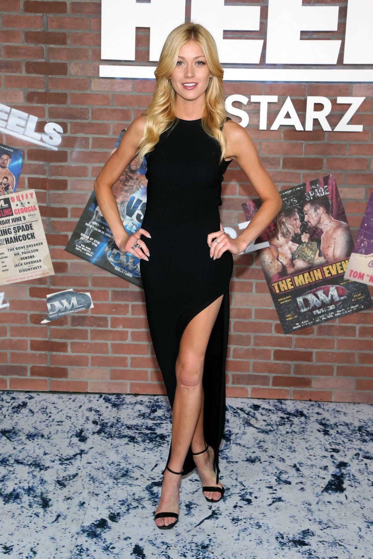 Katherine McNamara attends the Premiere of the new STARZ series 'Heels' in Los Angeles