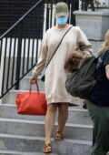 Katy Perry carries her dog while out for a pampering session at a skincare clinic in Beverly Hills, California