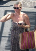 Katy Perry looks great in a printed summer dress while out for lunch with Orlando Bloom in Capri, Italy