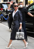 Lady Gaga looks stylish in a polka dot dress as she arrives at Radio City Music Hall in New York City