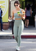 Lucy Hale sports a matching set of teal-green crop top and leggings during a coffee run at Alfred's in Los Angeles