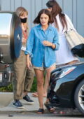 Lucy Hale spotted on set during a photoshoot in Malibu, California