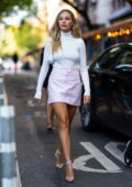 Maddie Ziegler looks chic in Courreges as she arrives at Lola Taverna in SoHo, New York City