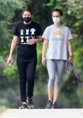 Natalie Portman wears a grey tee and leggings while out for a hike with Ellen Pompeo in Los Feliz, California