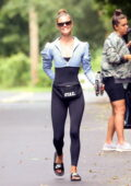 Nina Agdal shows off svelte figure in a crop top over a bodysuit while leaving a Yoga class in The Hamptons, California