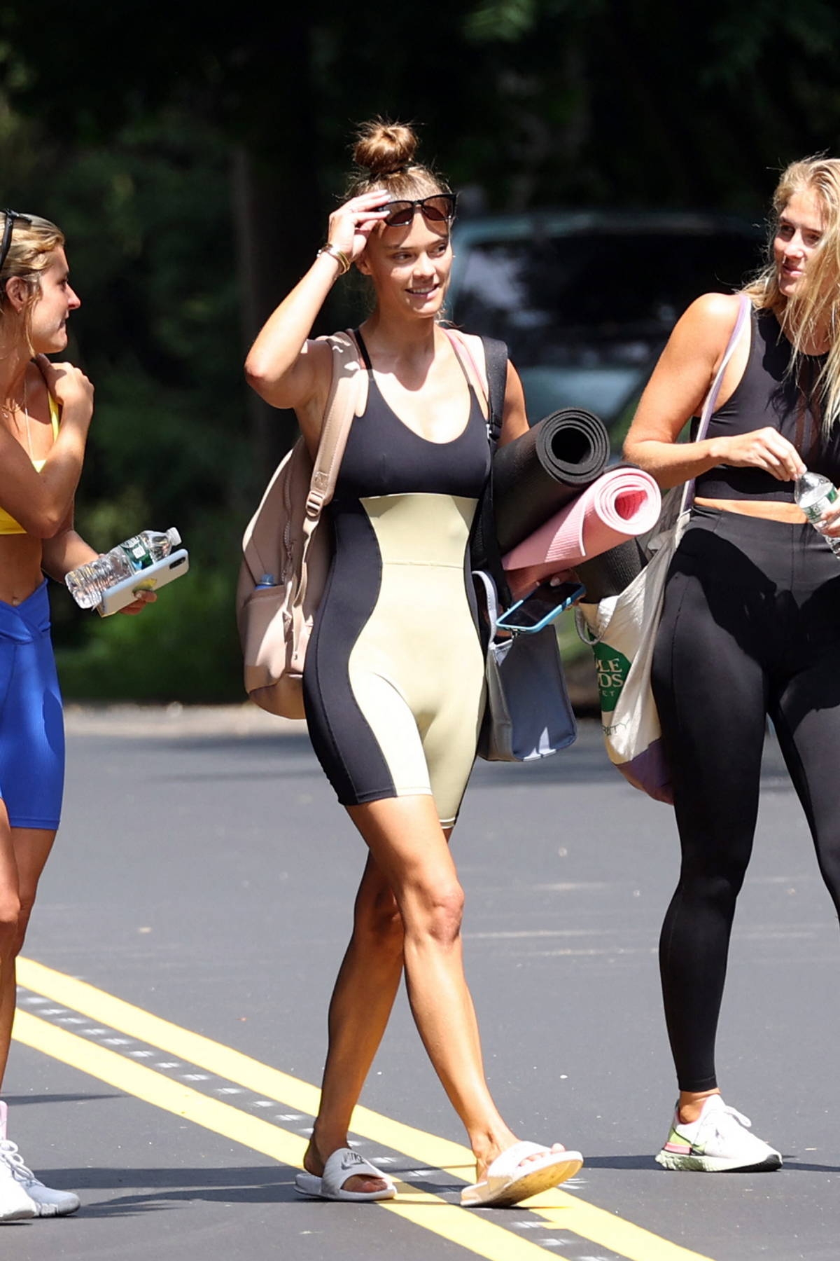 Nina Agdal sports a two-toned leotard while heading to a yoga class with friends in The Hamptons, New York