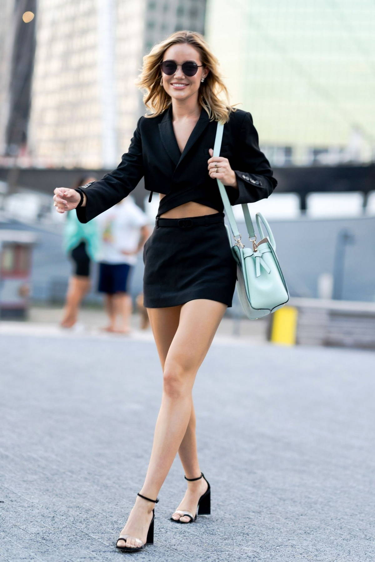 Olivia Ponton looks stylish in all-black while stepping out in the South Street Seaport, New York City